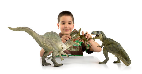 Playing dinosaurs attack