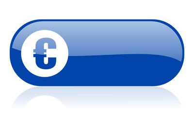 euro blue web glossy icon