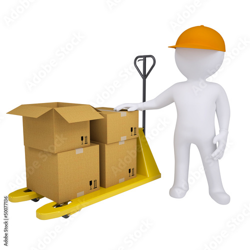 3D man standing next to a pallet truck