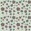 Pattern blue and pink flowers on a blue background