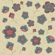 Pattern blue and pink flowers on a beige background