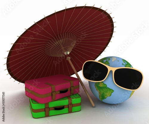 3d globe in sunglasses with a suitcases and umbrella