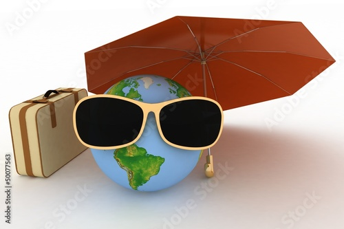 3d globe in sunglasses with a suitcase and umbrella