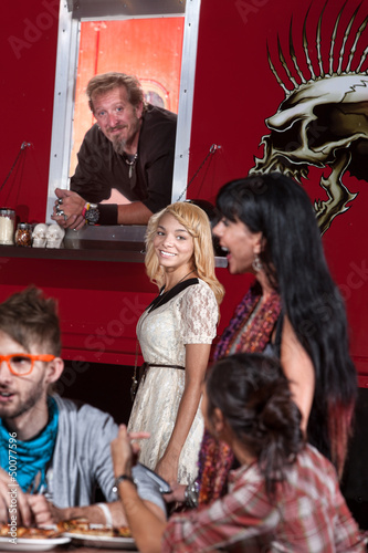 Young Woman with Chef at Food Truck