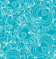 Seamless abstract hand-drawn blue pattern with hearts.