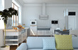 moderne Wohnküche weiss