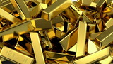 falling gold bars fills the screen, 3d animation