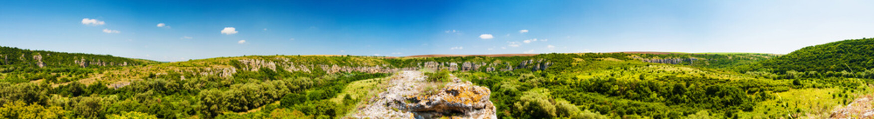Panorama of the canyon of Rusenski Lom, Bulgaria. The wholes in