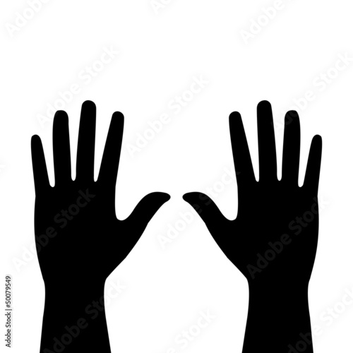 two hands on a white background