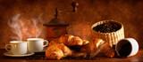 Fototapety Caffè e Croissant caldi