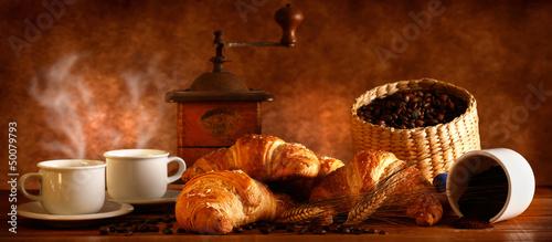 Obraz na płótnie Caffè e Croissant Caldi