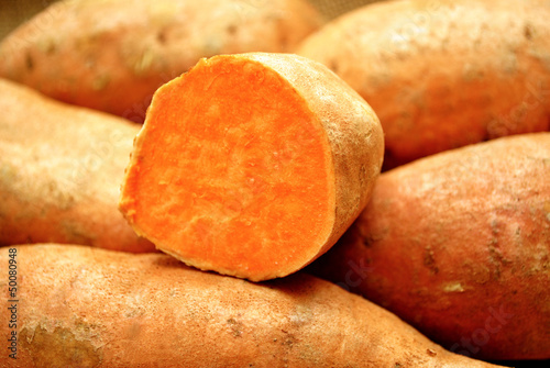 Close-Up of a Sweet Potato Cut in Half