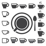 Fototapety Coffee cup and Tea cup icon set.Illustration