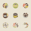 Retro coffee emblems. Vector logo templates set