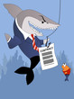 Business shark offers a contract to a small fish customer