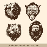 Set wild animals faces