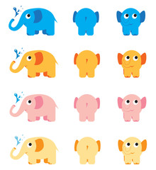 Bulk illustration colourful elephants