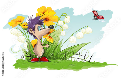 Foto op Canvas Lieveheersbeestjes Vector card with flowers and little mouse