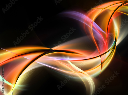 Awesome grunge fiery waves on black background
