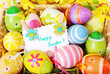 background with easter painted eggs and greeting card