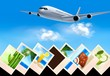 Background with airplane and with photos from holidays. Travel c