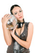 Portrait of young brunette with a mirror ball