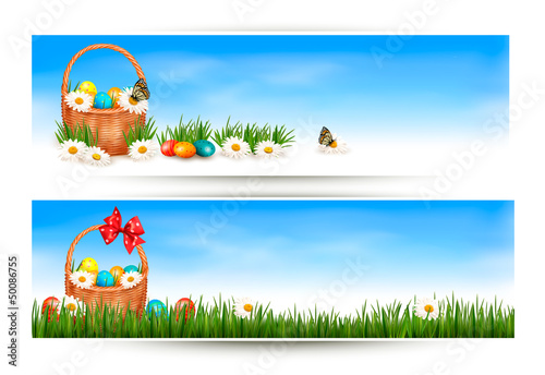 Easter banners with Easter eggs in basket and flowers. Vector