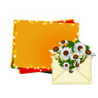 Frame for text. Envelope with a bouquet of flowers daisies