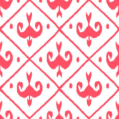 Traditional ikat fabric seamless pattern in pink, vector