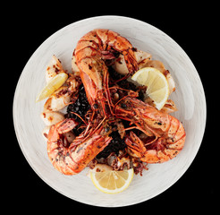 Jumbo prawns and grilled squids with black rice