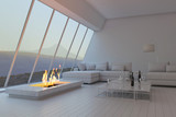 Awesome white 3D interior room with landscape view