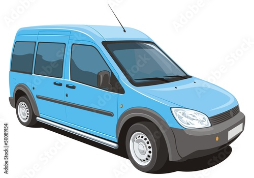 Vector isolated minivan cargo and passenger