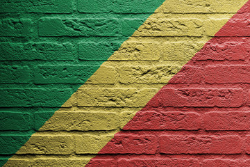 Brick wall with a painting of a flag, The republic of Congo