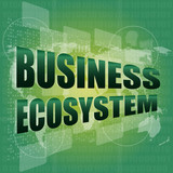business ecosystem words on digital touch screen poster