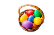 colorful Easter eggs in bascket on white background