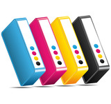 Fototapety CMYK CMJN Ink toners cartridges icon.