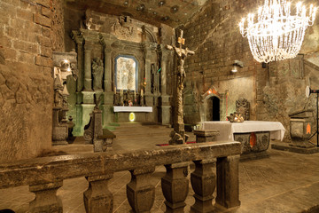 The Chapel of Saint Kinga in Wieliczka Salt Mine, Poland.