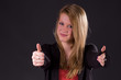 Nice blond Teenie with Thumbs up