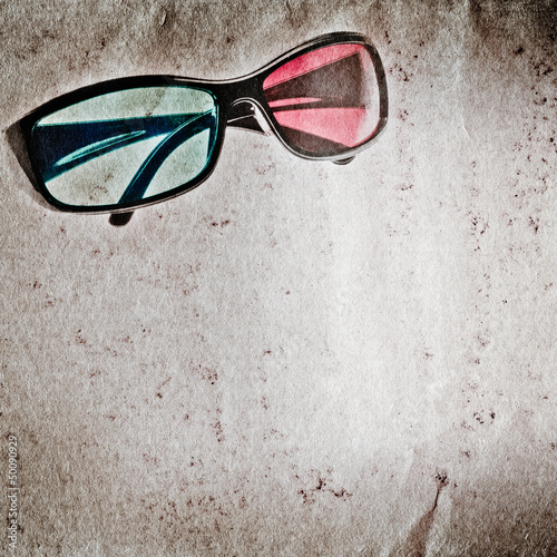 3D glasses old grunge paper texture