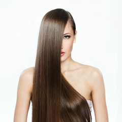 Woman with  Long Hair , clean skin face