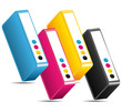CMYK CMJN ink toners cartridges offset icon.