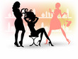 Beauty salon with hairdresser. Manicure, spa and makeup for women