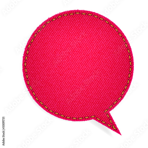 Speech bubble of denim fabric red badges