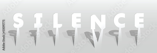 Illustration of silence word