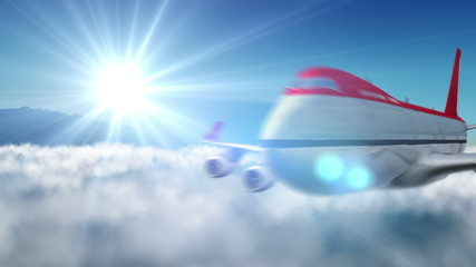 animated intro with airplane flying over mountains landscape