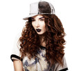 Classy Red Hair Fashion Model in Futuristic Cap. Bright Makeup