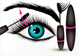 Art fashion vector conceptual background with beautiful blue eye