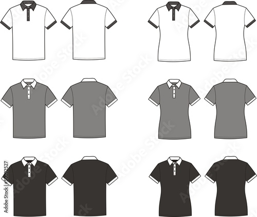 Vector illustration of polo t-shirts. Different colors
