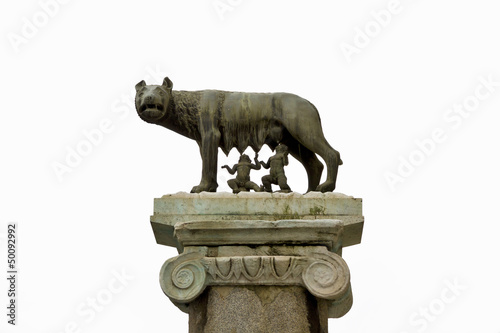 Ancient roman bronze of the she-wolf suckling Romulus and Remus,