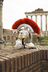 Roman soldier helmet in front of the Fori Imperiali, Italy
